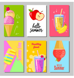 banner set of cute sweet summer backgrounds vector image vector image