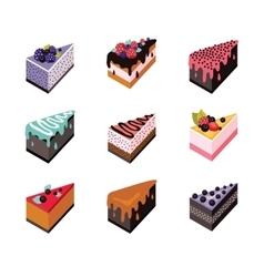 Cake set Isometric flat design web icon collection vector image