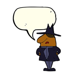 cartoon man in coat and hat with speech bubble vector image vector image