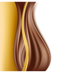 Chocolate with gold border background vector