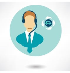 customer service operator with headset and speech vector image vector image