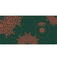 Dark green ornamental frame with mandala like vector image vector image