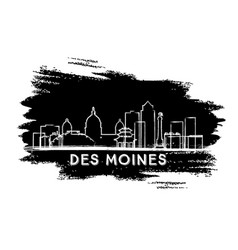Des moines skyline silhouette hand drawn sketch vector