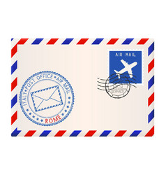 envelope with rome stamp international mail vector image vector image
