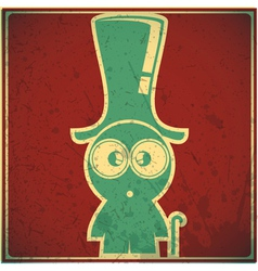 Funny character in hat on grunge background vector