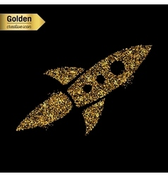 Gold glitter icon of rocket isolated on vector image vector image