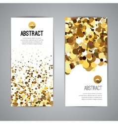 Gold sparkles on white backround golden banners vector