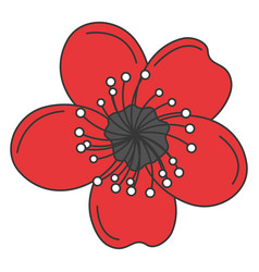 japanese flower isolated icon vector image