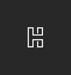 Letter h logo monogram monoline trendy style vector