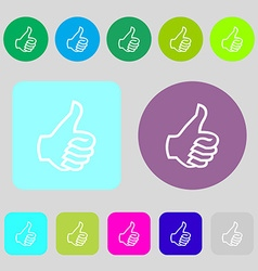 Like sign icon thumb up symbol hand finger-up 12 vector