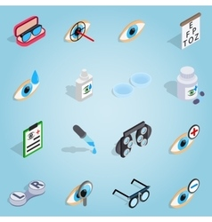 Optometry set icons isometric 3d style vector