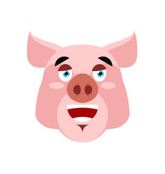 Pig happy emoji piggy merry emotion on white vector