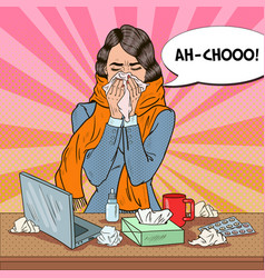 pop art business woman sneezing vector image vector image