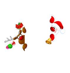 santa claus and reindeer1 vector image