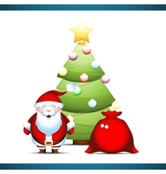 Santa Claus under Christmas tree vector image