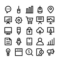 seo and marketing line icons 4 vector image