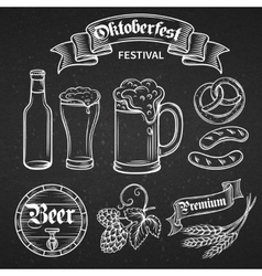 set beer oktoberfest vector image
