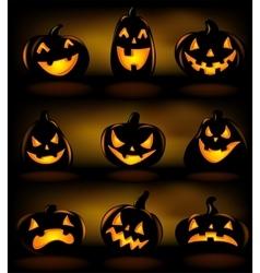Set of halloween lanterns vector