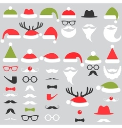 Set of Santa hats mustache and beards vector image