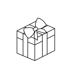 Silhouette square gift box with bow wrapping vector