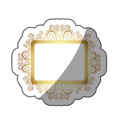 Sticker golden square vintage baroque frame vector