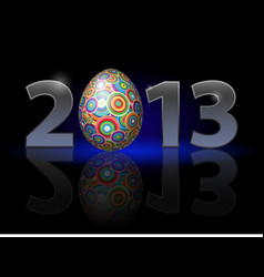 twenty thirteen year easter on black background vector image vector image
