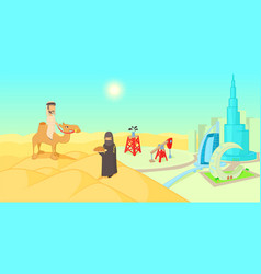 Uae travel horizontal banner cartoon style vector