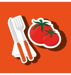 Food healthy plate fork vector