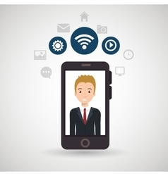 Man cellphone wifi connection vector