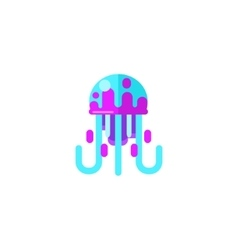 Jellyfish primitive style childish sticker vector