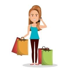 cartoon woman many bag gift shop graphic vector image