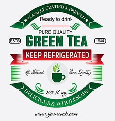 Green tea labels badges set vector