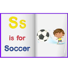 A picture of a kid playing soccer in a book vector