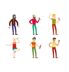 Drinking men collection vector