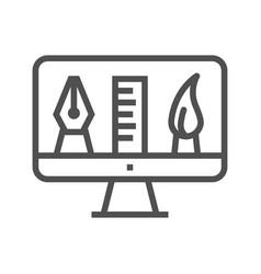 Graphics tools line icon vector