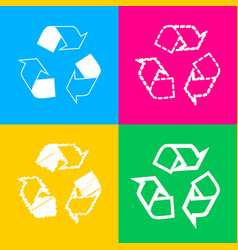 Recycle logo concept four styles of icon on four vector