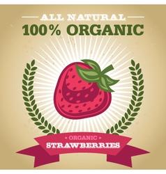 Organic Strawberry vector image