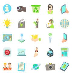 Geek icons set cartoon style vector