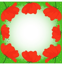 Postcard with several red poppies vector