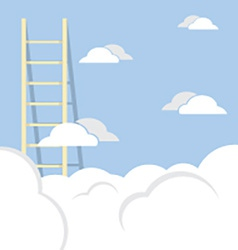 Single ladder through the cloud into the sky vector