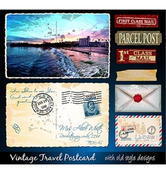 Santa Cruz Travel Vintage Postcard Design vector image