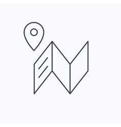 Map icon gps navigation with pin sign vector