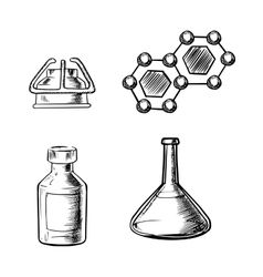 Flask burner bottle and molecule icons sketch vector