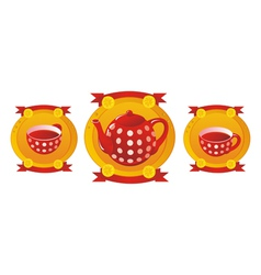 Red tea service vector