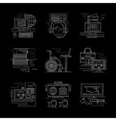 Detailed white line online education icons vector