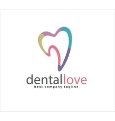 Abstract tooth logo icon similar human heart vector