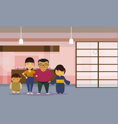 Asian family parents with two kids at home vector