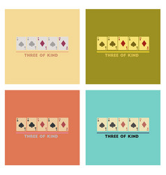 Assembly flat icons poker three of a kind vector