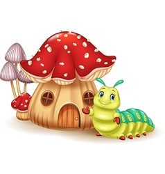 Beautiful mushroom house and cute caterpillar vector