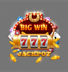 big win lottery casino isolated on transparent vector image vector image